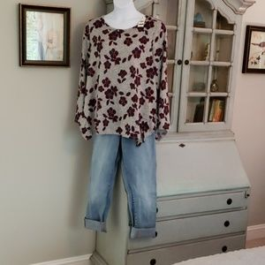 NWT LB Floral and Grey top